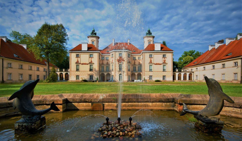 Decorative facade of Baroque style Bielinski Palace in Otwock Wielki (near Warsaw) seen from a park, Poland