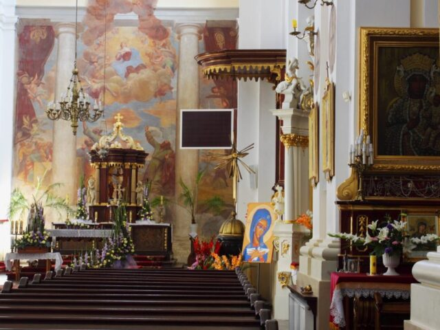 The interior of the Baroque Basilica of the Assumption of the Blessed Virgin Mary in Węgrów with frescoes by Michelangelo Palloni from 1707 - 1709, photo: City Hall